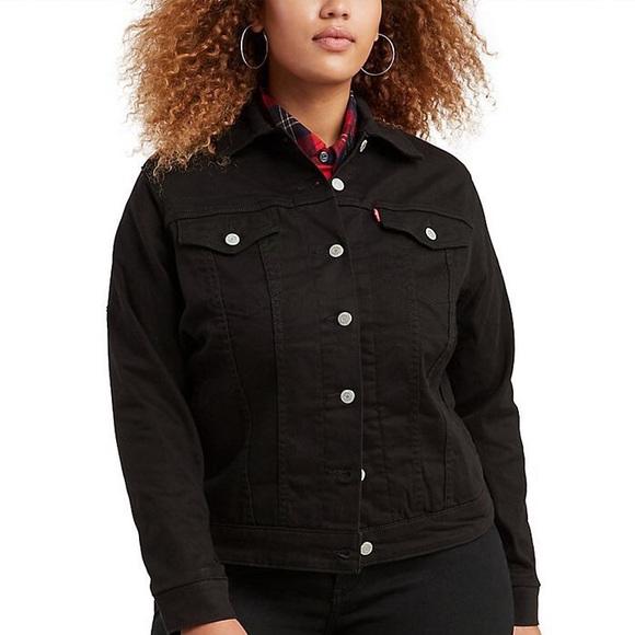 Levi's Black Denim Button Up Trucker Jacket